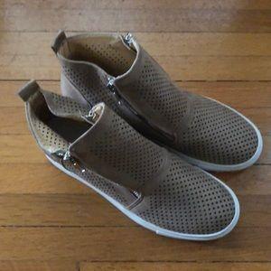 Shoes - Vegan suede platform bootie sneakers